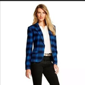 Womens Merona Blue Plaid Blazer - Sz 16